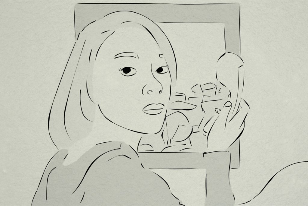 Sketch from behind women. She is holding a traditional phone handset and looking back so you can see her face.