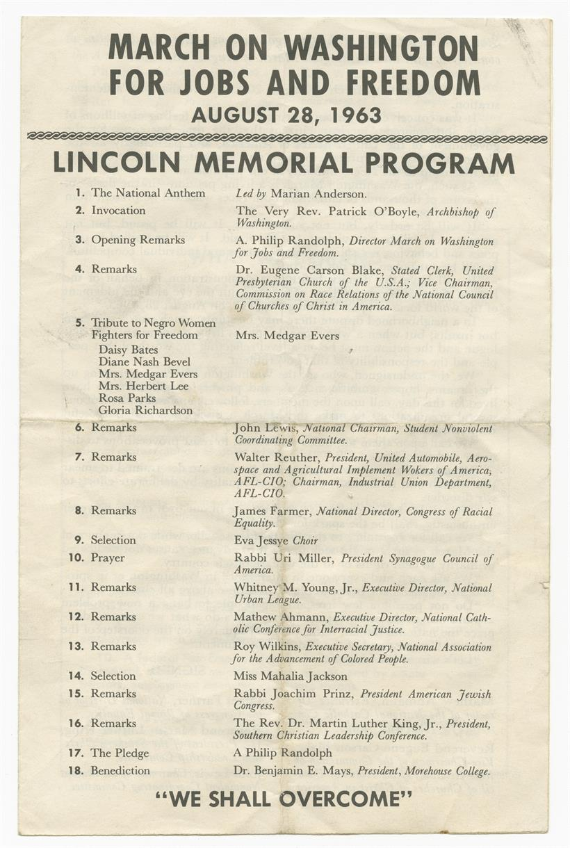 Program agenda for the August 28, 1963 March on Washington for Jobs and Freedom