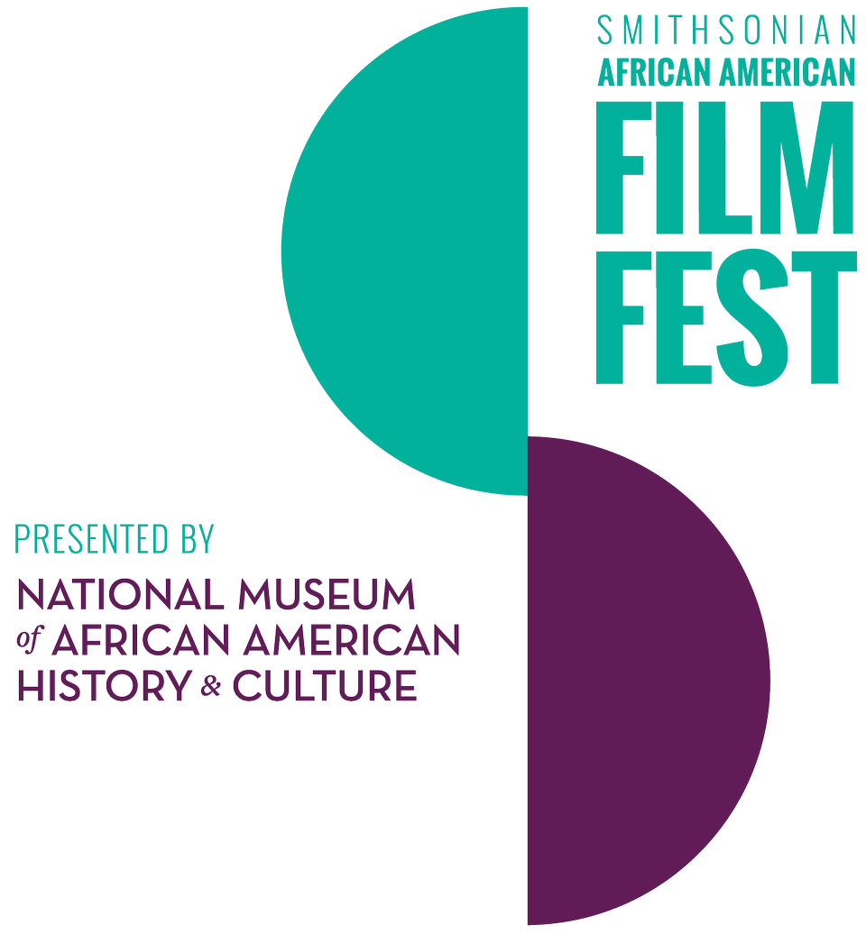 Smithsonian African American Film Festival logo including two vertically offset, but barely overlapping half circles. The teal green half circle is up and to the left and the purple half circle is down and to the right.
