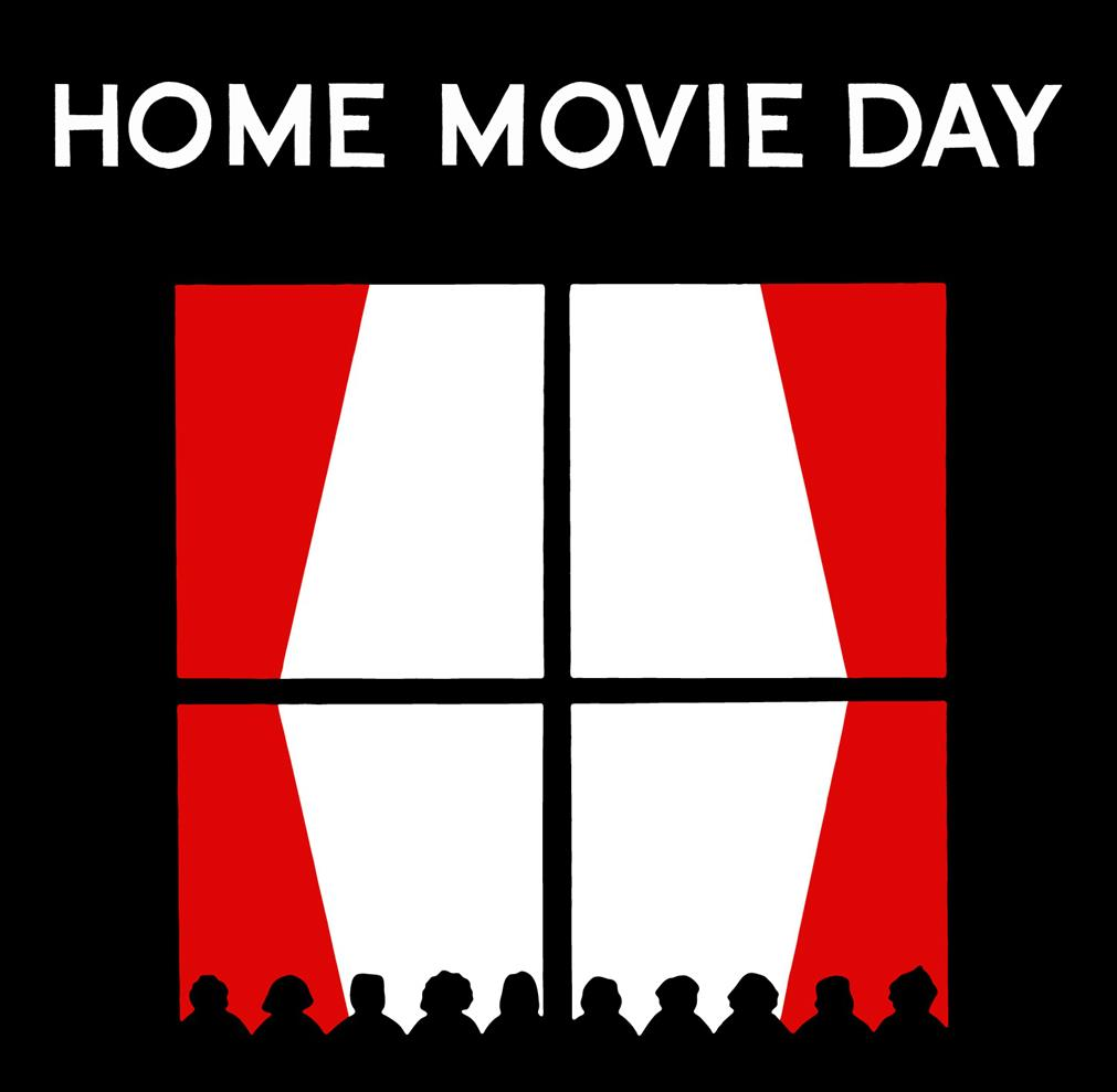 Home movie day logo with silhouettes of an audience viewing the curtains opening up on a screen.