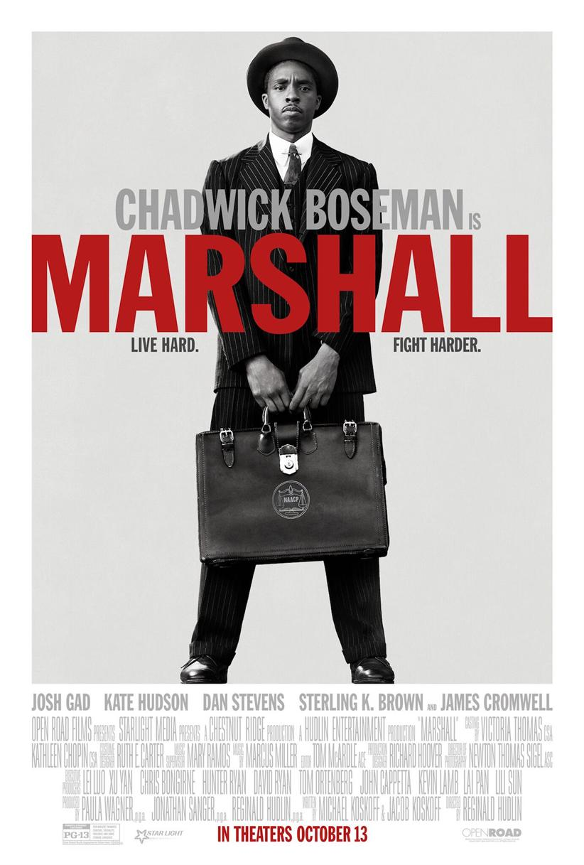 film poster image with Chadwick Boseman wearing a suit and holding a leather briefcase.