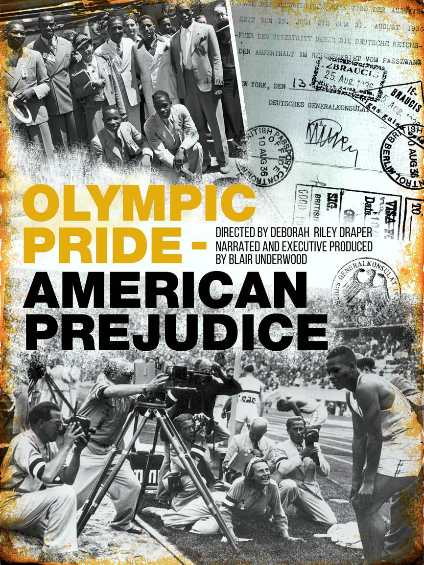 Film poster image including photos of a group of African American Olympians in business attire, a stamped passport, and Jesse Owens standing in front of the press at the 1936 Berlin Olympics Stadium.