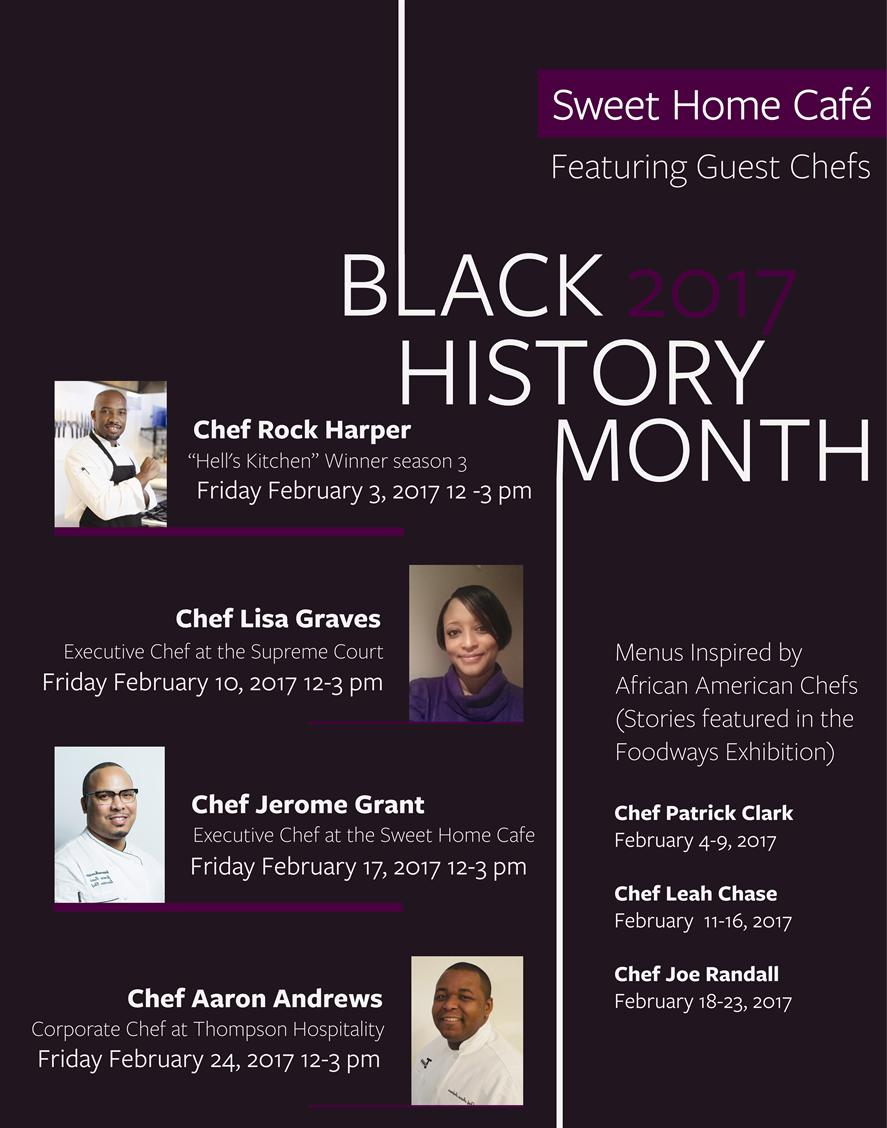 photos and list of guest chefs for Black History Month at Sweet Home Cafe