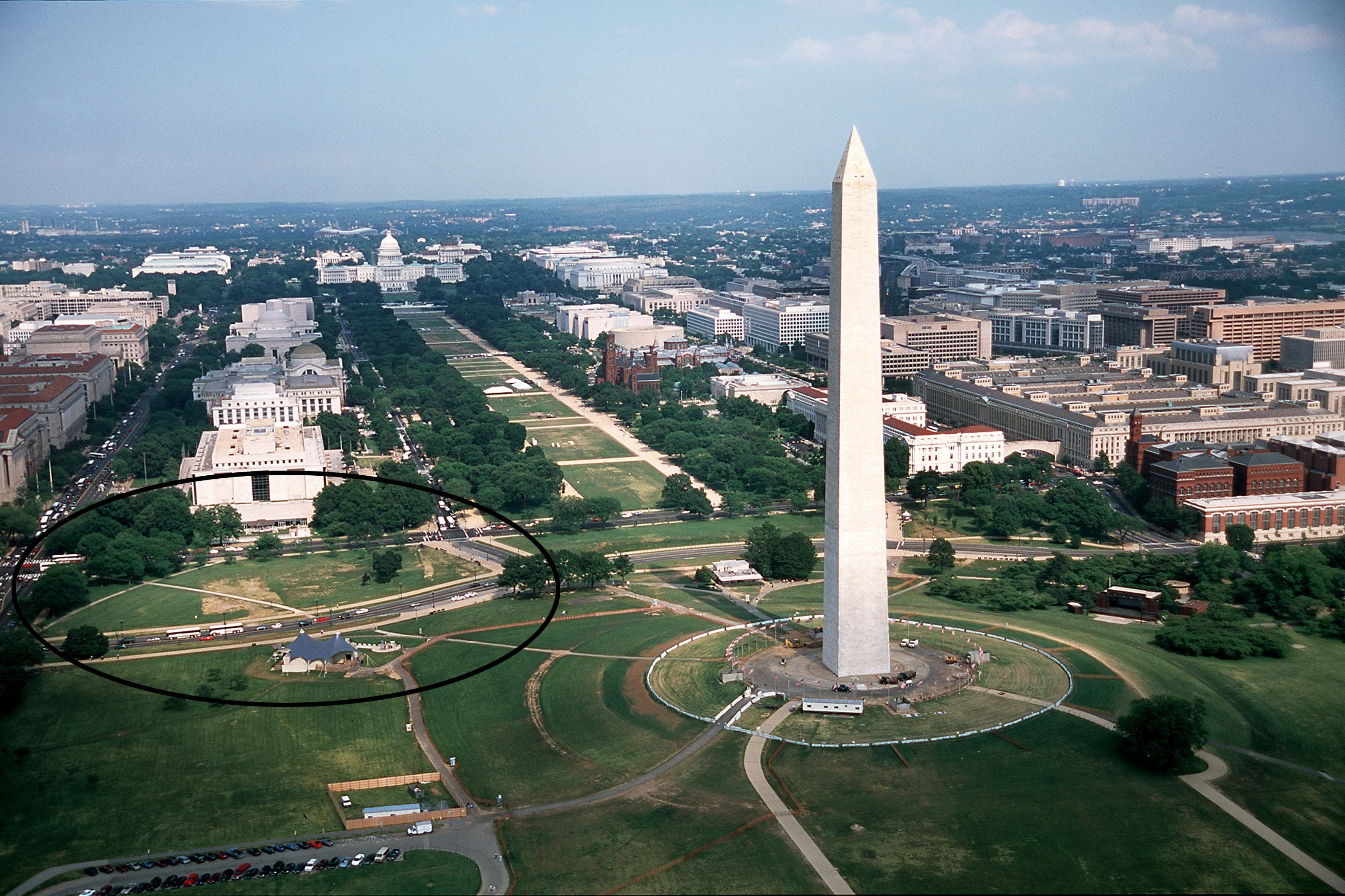 Image of the site where NMAAHC was going to be built adjacent to the Washington Monument