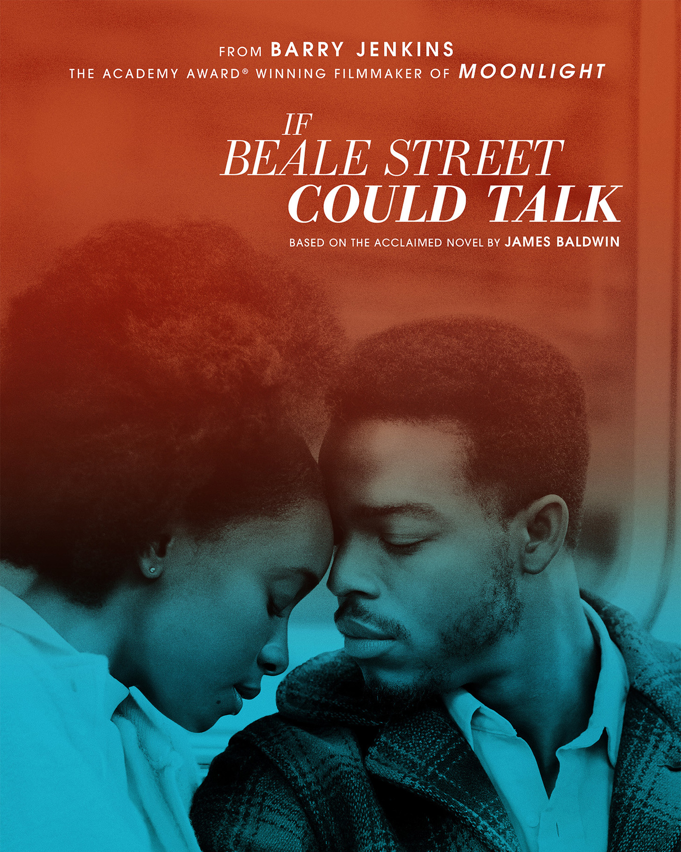 If Beale Street Could Talk movie poster depicting movie leads Kiki Layne and Stephan James in a close embrace